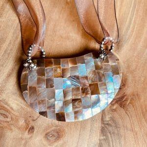 STUNNING Seashell Semi- Heart Ribbon Necklace